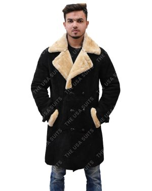 Mens Fur Collar Black Coat