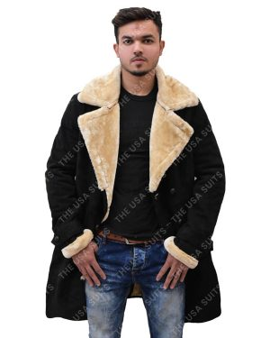 Mens Fur Collar Black Coats