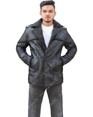 Mens Fur Collar Black Leather Jackets