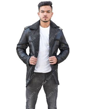 Men's Fur Collar Black Leather Jacket