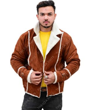 Mens Fur Collar Brown Leather Jackets