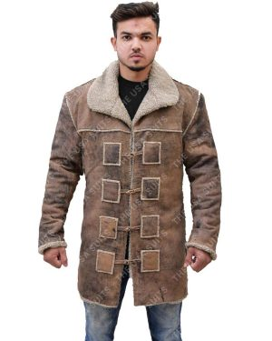Mens Collar Brown Coat