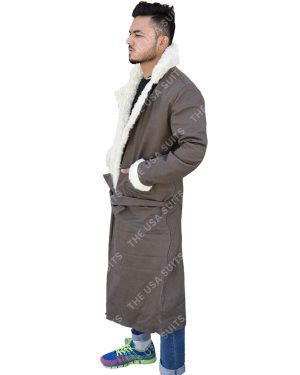 Mens Fur Collar Cotton Trench Coat