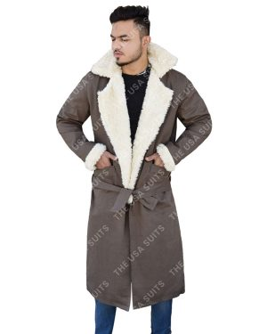 Mens Fur Collar Cotton Trench Coats