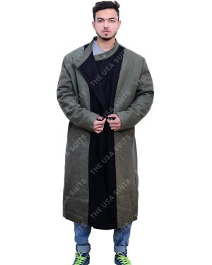 Men's Green & Black Trench Coat