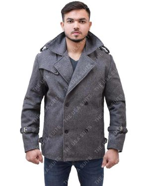 Mens Mid Lenth Grey Wool Coat