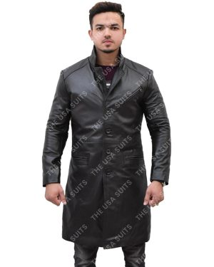 Men's Mid-Length Black Leather Coat