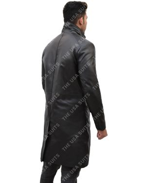 Mens Mid-Length Black Leather Coats
