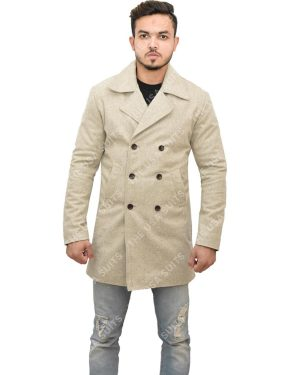 Men's Mid-Length Light Grey Coat