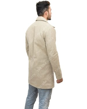 Mens Mid-Length Light Grey Coats