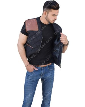 Mens Quilted Black Vests