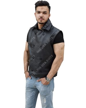 Mens Sleeveless Leather Black Vests