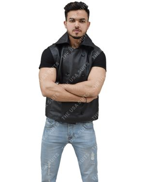 Mens Sleeveless Leather Vest