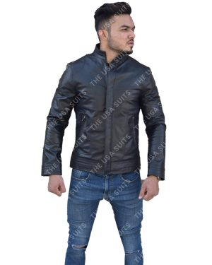 Mens Slim-Fit Black Leather Jackets