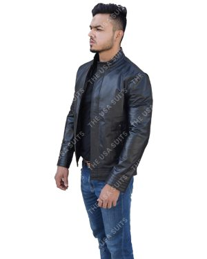 Mens Slim-Fit Leather Jacket